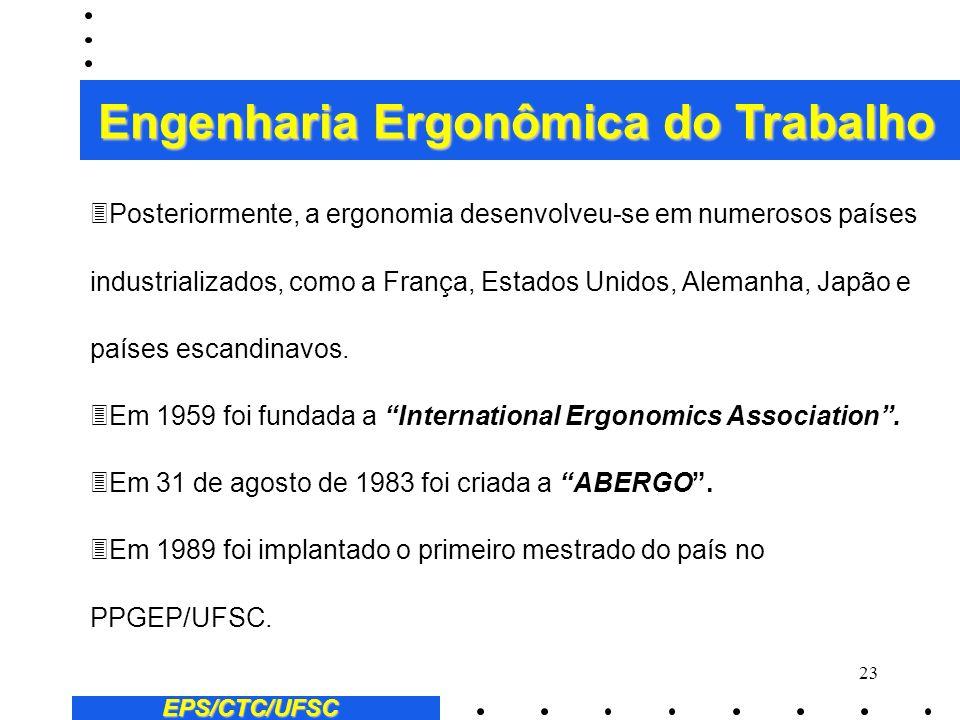 22 EPS/CTC/UFSC Engenharia Ergonômica do Trabalho 3O termo ergonomia foi utilizado pela primeira vez, em 1857, pelo polonês W. Jastrzebowski, que publ