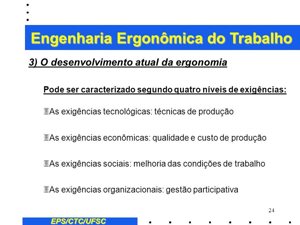 23 EPS/CTC/UFSC 3Posteriormente, a ergonomia desenvolveu-se em numerosos países industrializados, como a França, Estados Unidos, Alemanha, Japão e paí