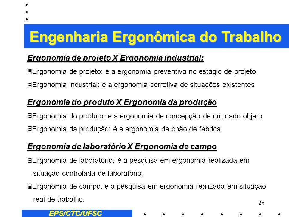 25 Quanto a abrangência: 3Ergonomia do posto de trabalho: abordagem microergonômica 3Ergonomia de sistemas de produção: abordagem macroergonômica Quan