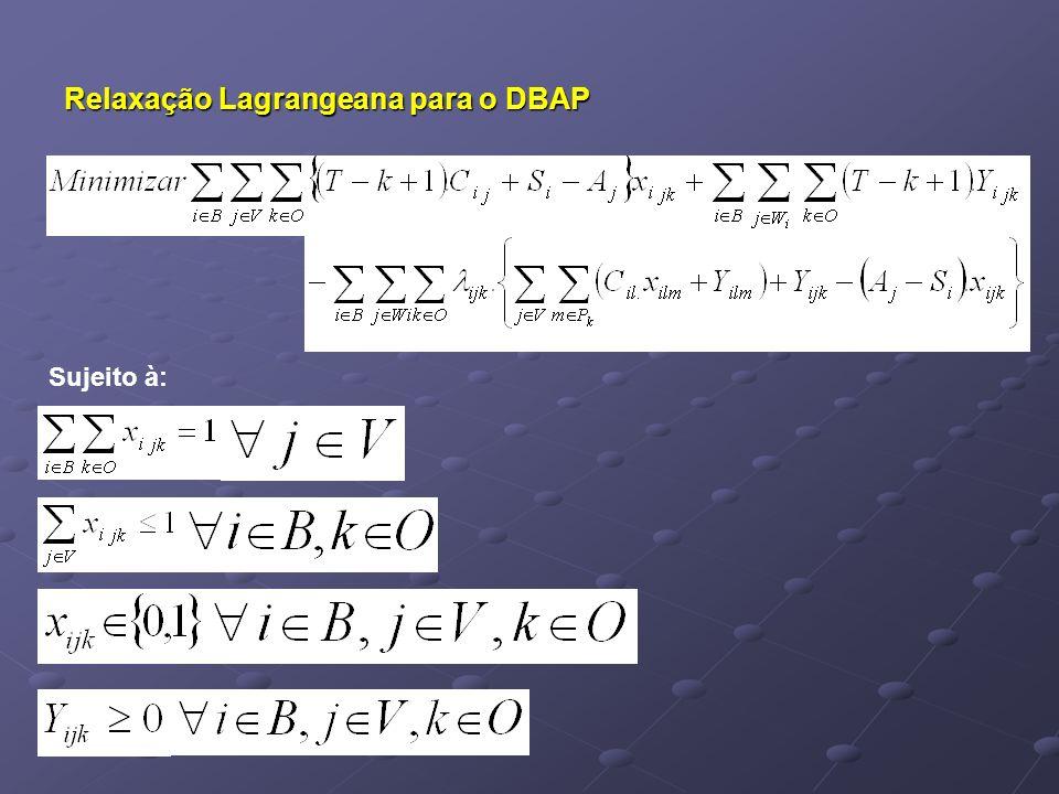Relaxação Lagrangeana para o DBAP Sujeito à:
