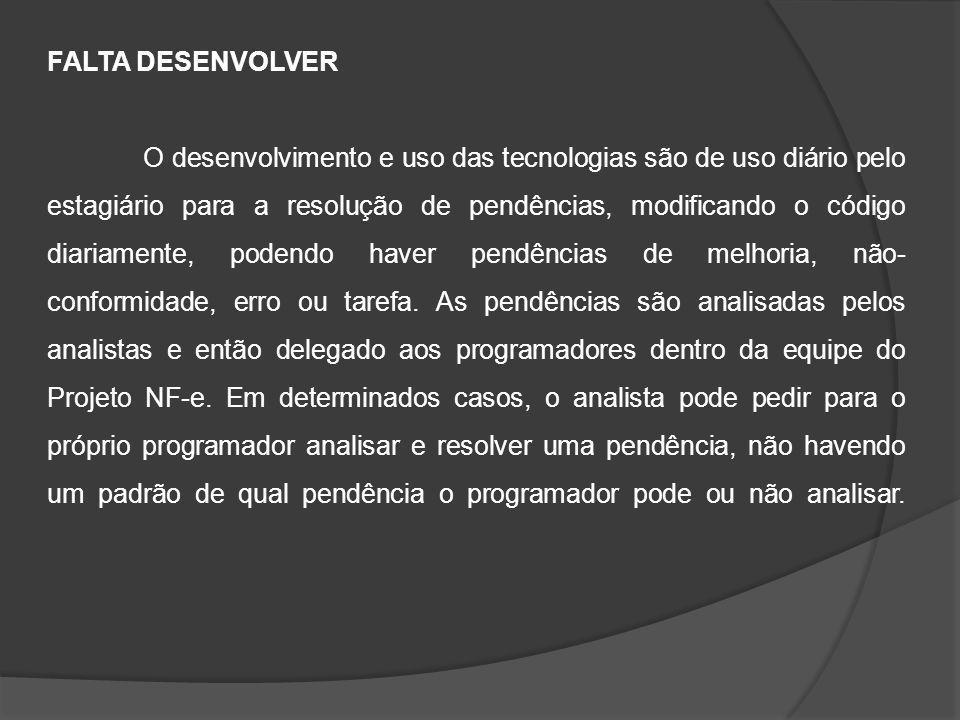 FALTA DESENVOLVER O desenvolvimento e uso das tecnologias são de uso diário pelo estagiário para a resolução de pendências, modificando o código diari