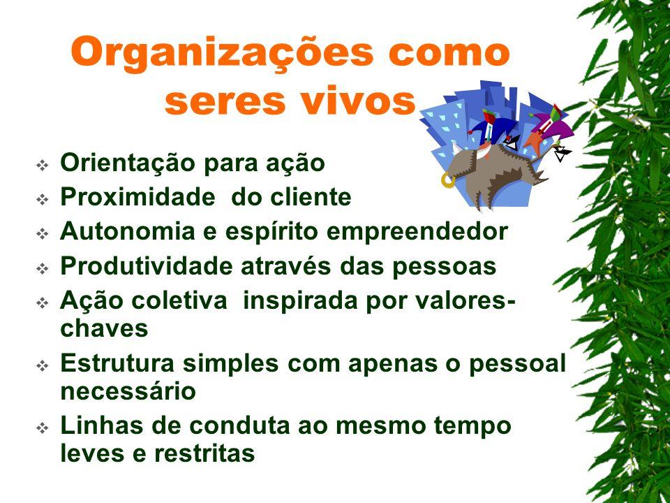 Organizações como seres vivos Orientação para ação Proximidade do cliente Autonomia e espírito empreendedor Produtividade através das pessoas Ação col