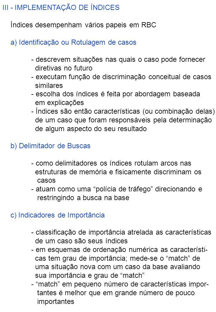 III - IMPLEMENTAÇÃO DE ÍNDICES ÍÍndices desempenham vários papeis em RBC a) Identificação ou Rotulagem de casos - descrevem situações nas quais o caso pode fornecer diretivas no futuro - executam função de discriminação conceitual de casos similares - escolha dos índices é feita por abordagem baseada em explicações - Índices são então características (ou combinação delas) de um caso que foram responsáveis pela determinação de algum aspecto do seu resultado b) Delimitador de Buscas - como delimitadores os índices rotulam arcos nas estruturas de memória e fisicamente discriminam os casos - atuam como uma polícia de tráfego direcionando e restringindo a busca na base c) Indicadores de Importância - classificação de importância atrelada as características de um caso são seus índices - em esquemas de ordenação numérica as característi- cas tem grau de importância; mede-se o match de uma situação nova com um caso da base avaliando sua importância e grau de match - match em pequeno número de características impor- tantes é melhor que em grande número de pouco importantes