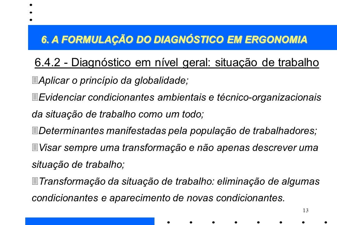 13 6.4.2 - Diagnóstico em nível geral: situação de trabalho 3Aplicar o princípio da globalidade; 3Evidenciar condicionantes ambientais e técnico-organ