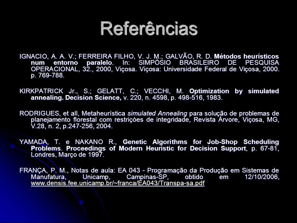 Referências IGNACIO, A. A. V.; FERREIRA FILHO, V. J. M.; GALVÃO, R. D. Métodos heurísticos num entorno paralelo. In: SIMPÓSIO BRASILEIRO DE PESQUISA O