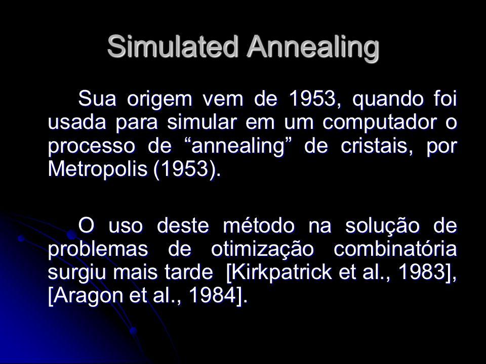 Simulated Annealing Annealing físico: processo térmico para obtenção de sólidos em estado de mínima energia.