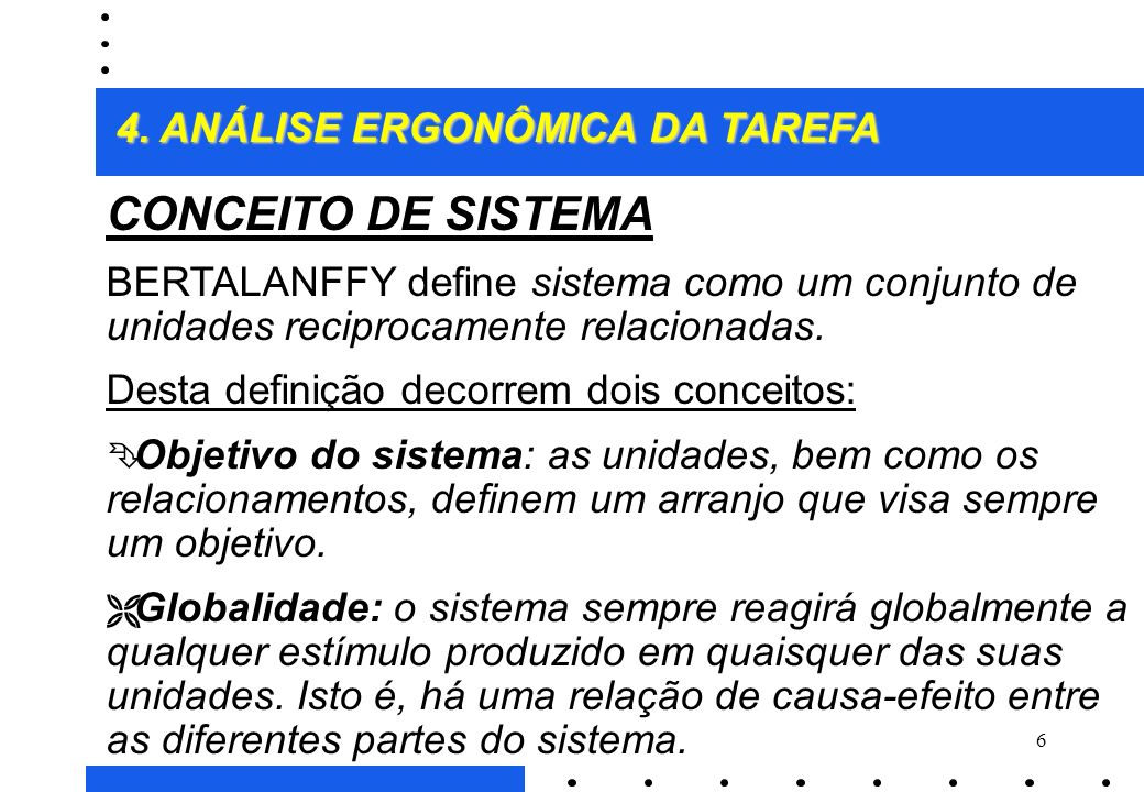 6 CONCEITO DE SISTEMA BERTALANFFY define sistema como um conjunto de unidades reciprocamente relacionadas.