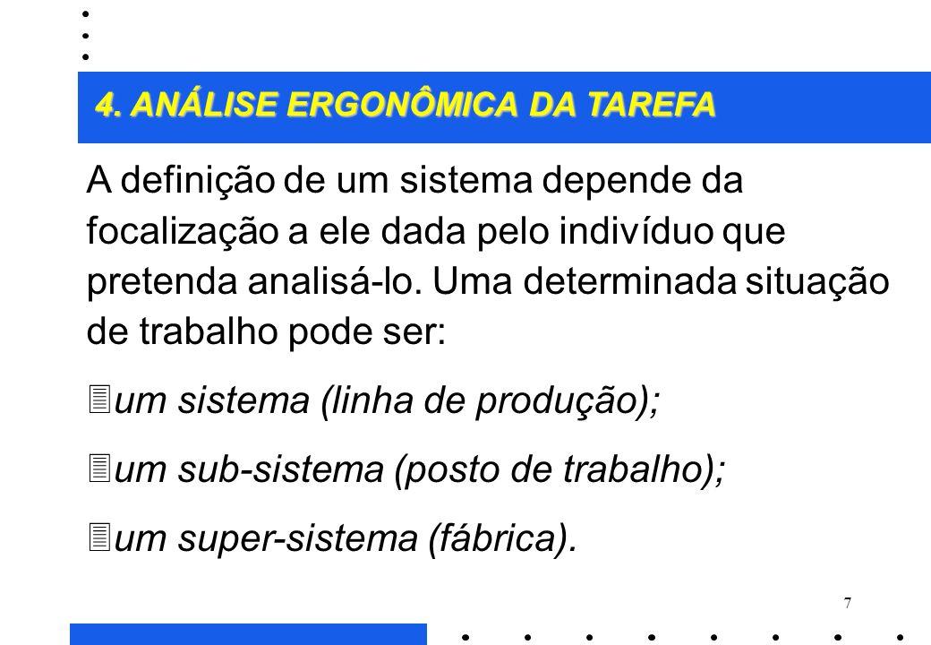 87 ENTRADAS MÁQUINAS SAÍDAS HOMENS SITUAÇÃO DE TRABALHO Informações recebidas de outros postos Informações transmitidas para outros postos AI I I A A 4.