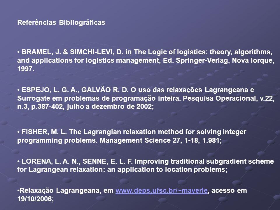 Referências Bibliográficas BRAMEL, J. & SIMCHI-LEVI, D.