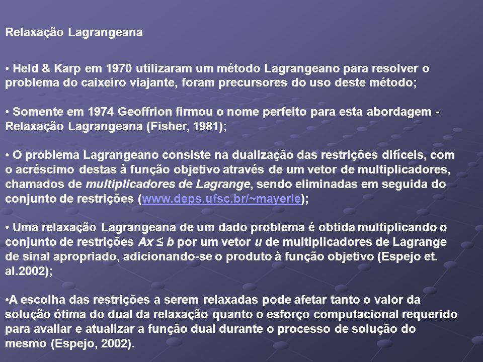Relaxação Lagrangeana Held & Karp em 1970 utilizaram um método Lagrangeano para resolver o problema do caixeiro viajante, foram precursores do uso deste método; Somente em 1974 Geoffrion firmou o nome perfeito para esta abordagem - Relaxação Lagrangeana (Fisher, 1981); O problema Lagrangeano consiste na dualização das restrições difíceis, com o acréscimo destas à função objetivo através de um vetor de multiplicadores, chamados de multiplicadores de Lagrange, sendo eliminadas em seguida do conjunto de restrições (www.deps.ufsc.br/~mayerle);www.deps.ufsc.br/~mayerle Uma relaxação Lagrangeana de um dado problema é obtida multiplicando o conjunto de restrições Ax b por um vetor u de multiplicadores de Lagrange de sinal apropriado, adicionando-se o produto à função objetivo (Espejo et.