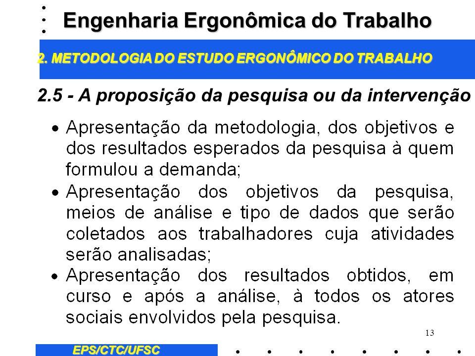 12 EPS/CTC/UFSC 2.4 - A dimensão da pesquisa ou da intervenção Engenharia Ergonômica do Trabalho 2. METODOLOGIA DO ESTUDO ERGONÔMICO DO TRABALHO Delim