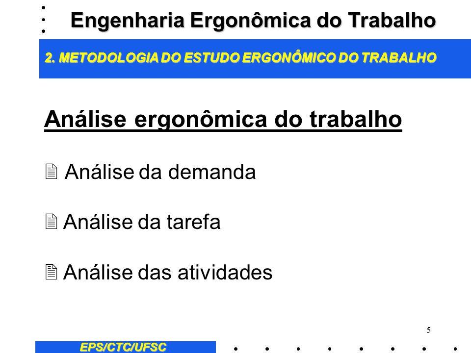 5 Análise ergonômica do trabalho 2 Análise da demanda 2 Análise da tarefa 2 Análise das atividades EPS/CTC/UFSC Engenharia Ergonômica do Trabalho 2.