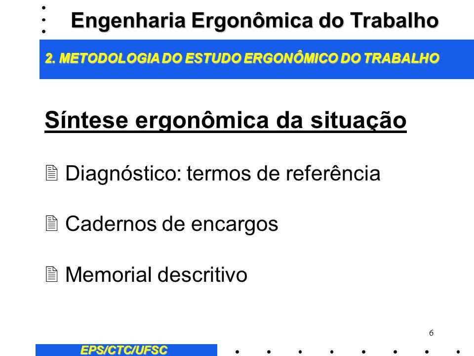6 Síntese ergonômica da situação 2 Diagnóstico: termos de referência 2 Cadernos de encargos 2 Memorial descritivo EPS/CTC/UFSC Engenharia Ergonômica do Trabalho 2.