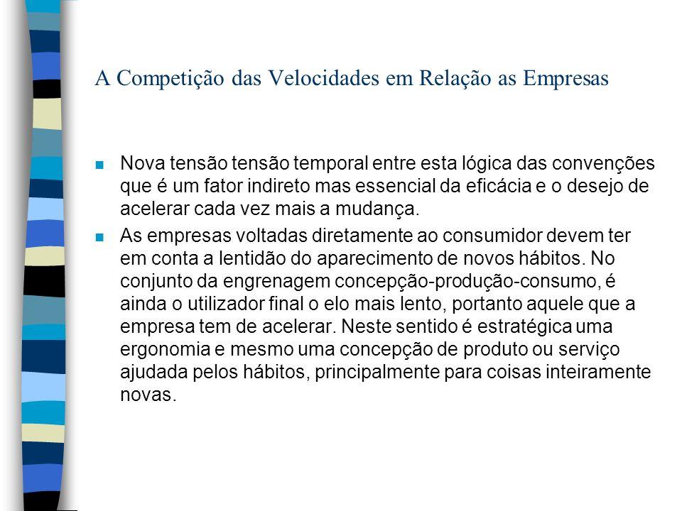A Competição das Velocidades em Relação as Empresas n Nova tensão tensão temporal entre esta lógica das convenções que é um fator indireto mas essencial da eficácia e o desejo de acelerar cada vez mais a mudança.