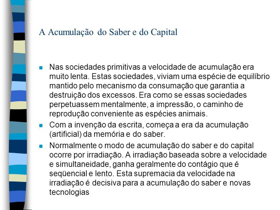 A Acumulação do Saber e do Capital n Nas sociedades primitivas a velocidade de acumulação era muito lenta.