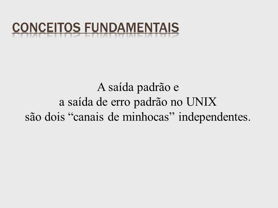 A saída padrão e a saída de erro padrão no UNIX são dois canais de minhocas independentes.