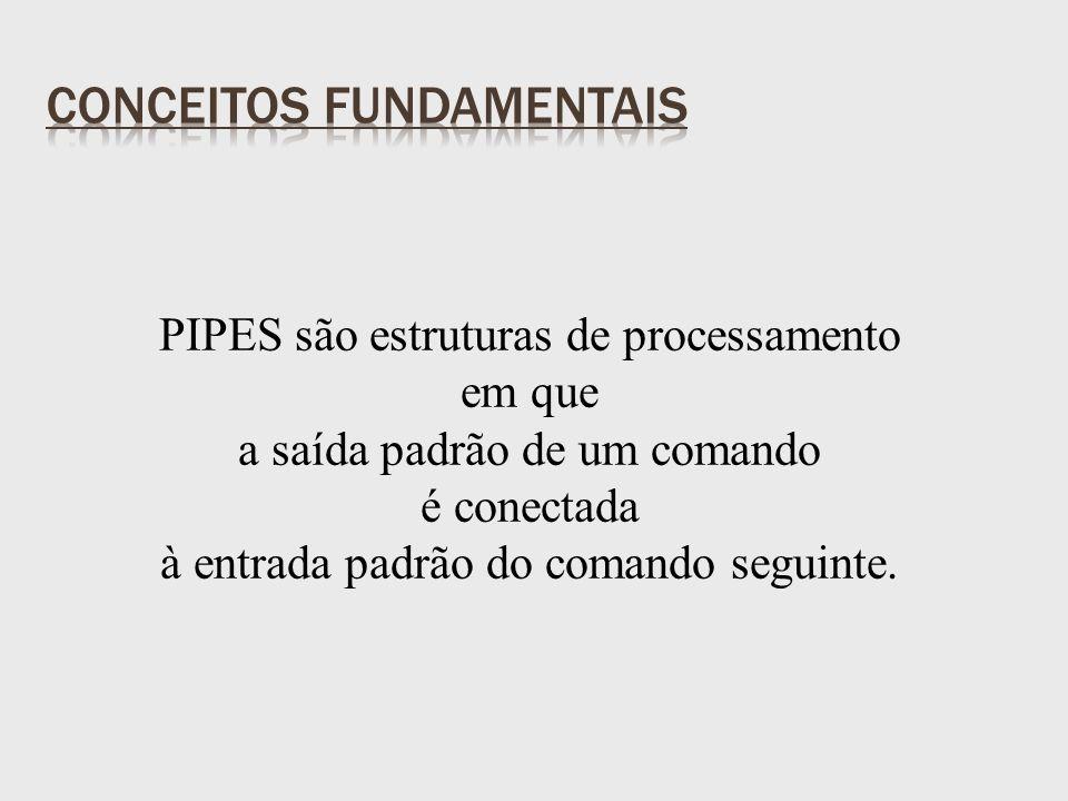 PIPES são estruturas de processamento em que a saída padrão de um comando é conectada à entrada padrão do comando seguinte.