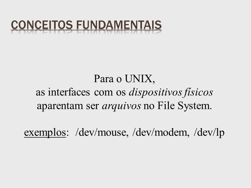 Para o UNIX, as interfaces com os dispositivos físicos aparentam ser arquivos no File System.