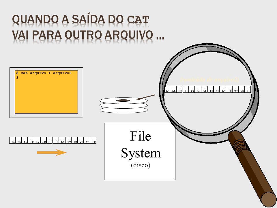 File System (disco) $ cat arquivo > arquivo2 $ (conteúdo de arquivo2) 65666710495051106869109798106566671049505110686910979810