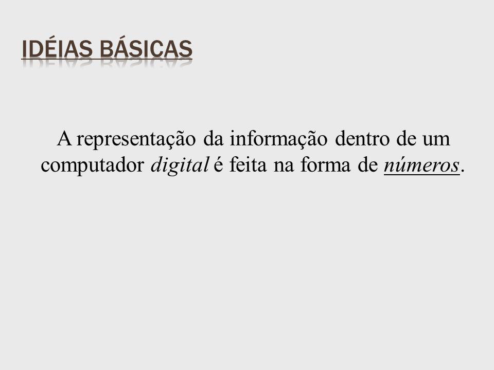 A representação da informação dentro de um computador digital é feita na forma de números.