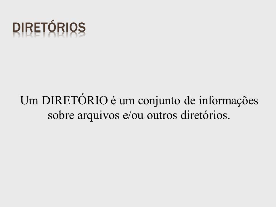 Um DIRETÓRIO é um conjunto de informações sobre arquivos e/ou outros diretórios.