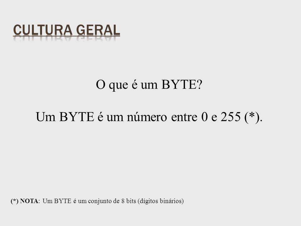 O que é um BYTE. Um BYTE é um número entre 0 e 255 (*).