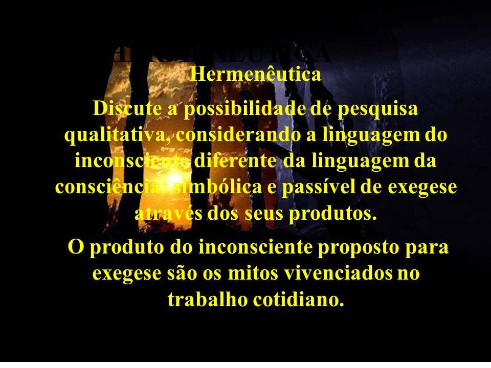 HERMENÊUTICA Hermenêutica Discute a possibilidade de pesquisa qualitativa, considerando a linguagem do inconsciente diferente da linguagem da consciên