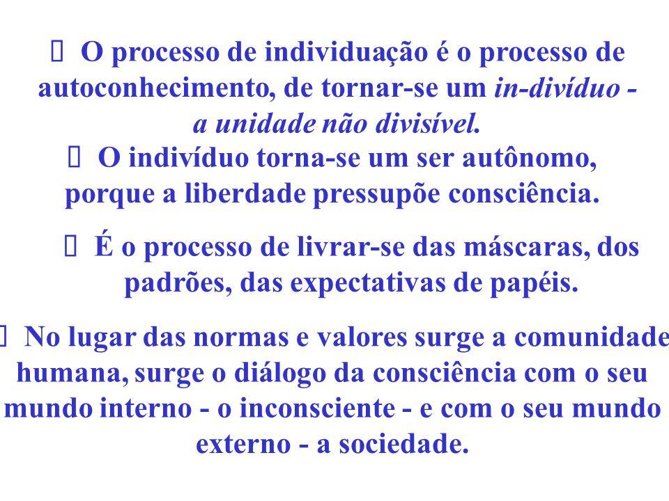 O processo de individuaçãoéo processo de autoconhecimento, de tornar-se um in-divíduo- a unidade não divisível. No lugar das normas e valores surge a