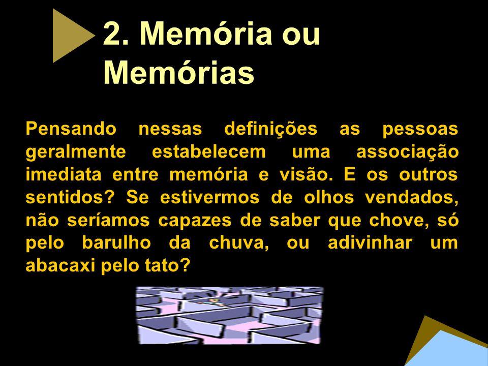 2. Mem ó ria ou Mem ó rias Pensando nessas definições as pessoas geralmente estabelecem uma associação imediata entre memória e visão. E os outros sen
