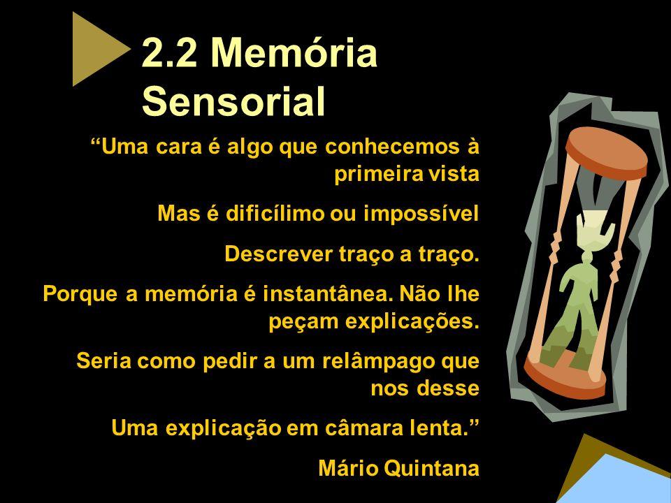 2.2 Memória Sensorial Uma cara é algo que conhecemos à primeira vista Mas é dificílimo ou impossível Descrever traço a traço. Porque a memória é insta