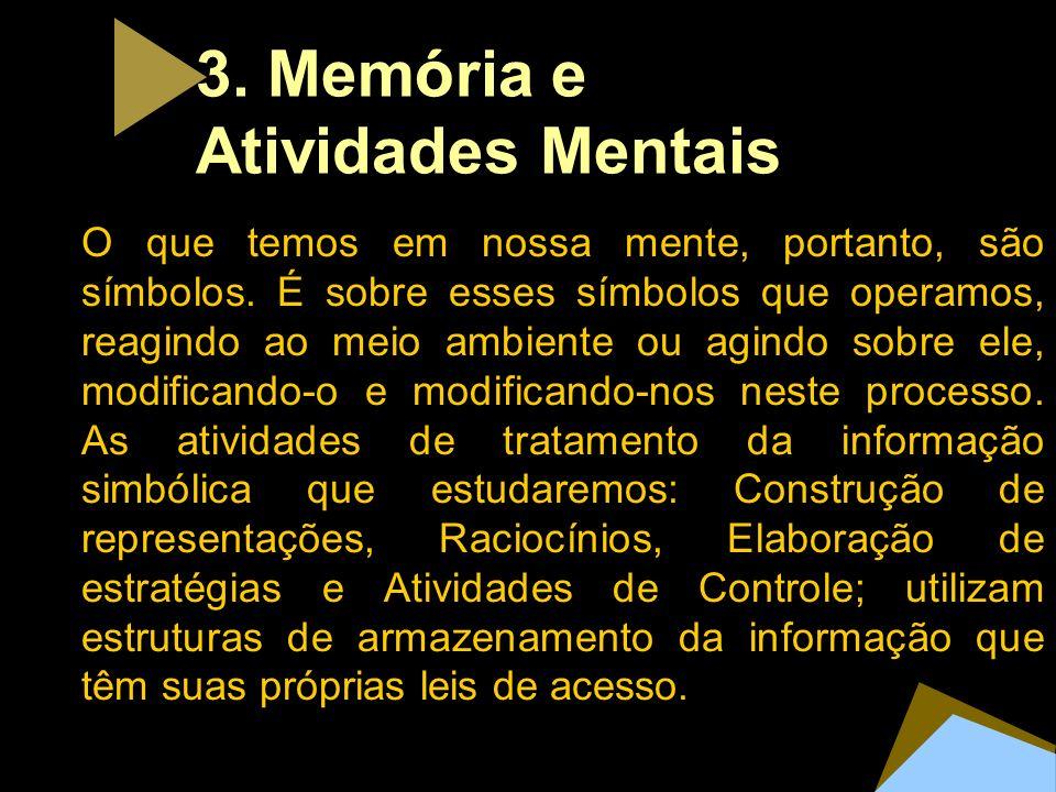 3. Mem ó ria e Atividades Mentais O que temos em nossa mente, portanto, são símbolos. É sobre esses símbolos que operamos, reagindo ao meio ambiente o