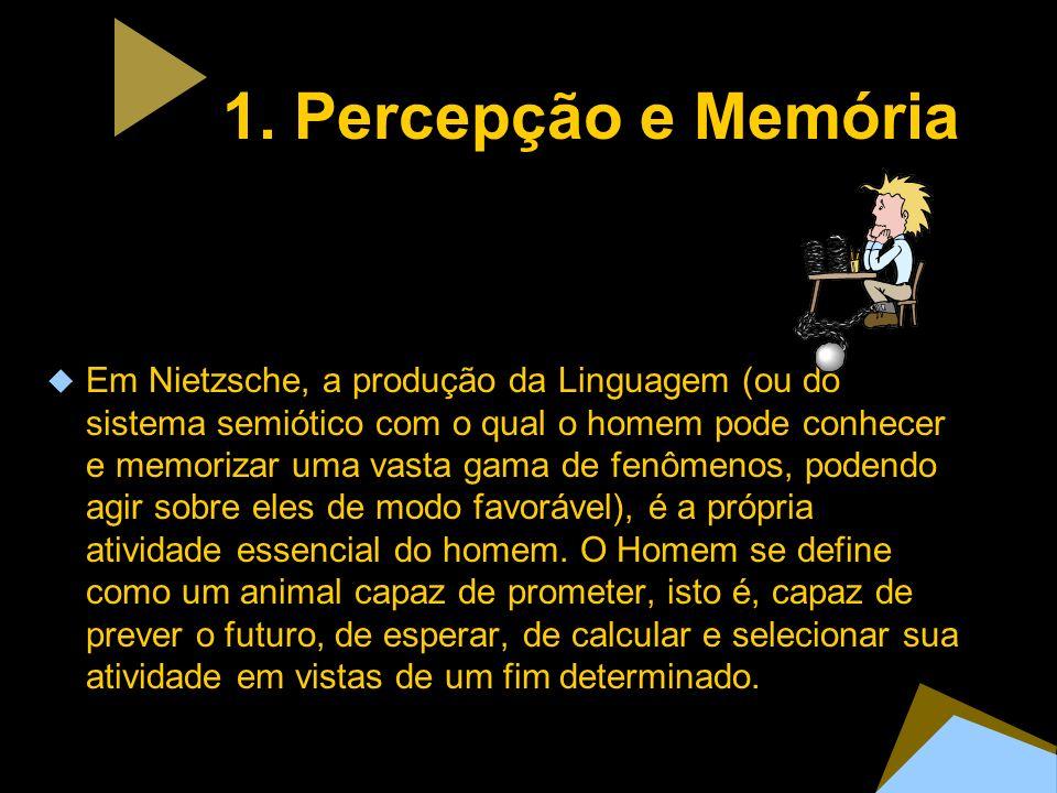 1. Percepção e Memória Em Nietzsche, a produção da Linguagem (ou do sistema semiótico com o qual o homem pode conhecer e memorizar uma vasta gama de f