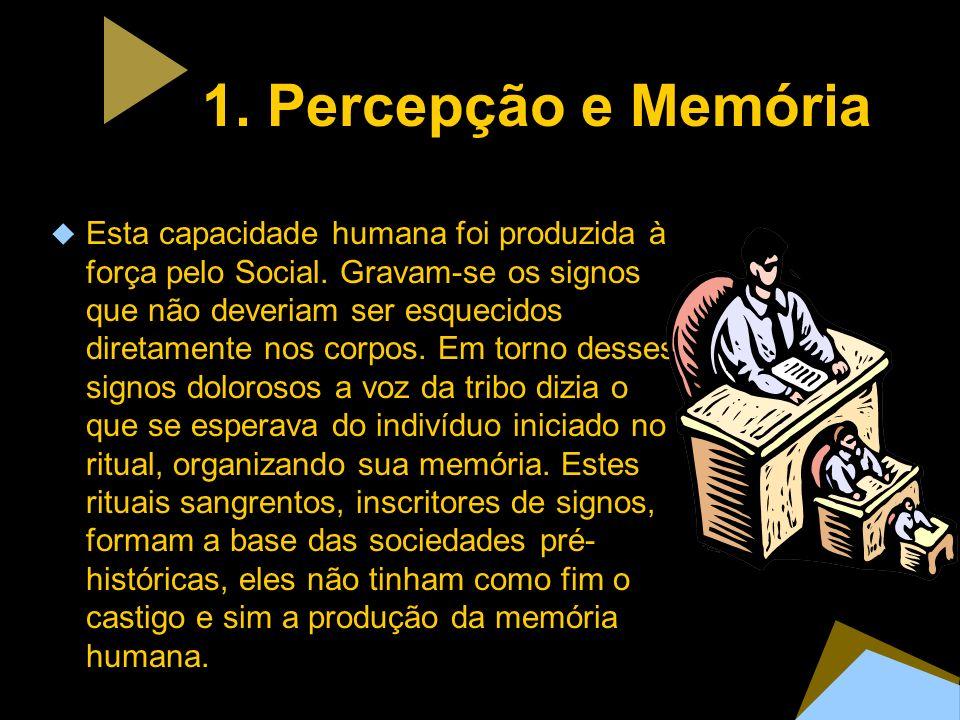 1. Percepção e Memória Esta capacidade humana foi produzida à força pelo Social. Gravam-se os signos que não deveriam ser esquecidos diretamente nos c