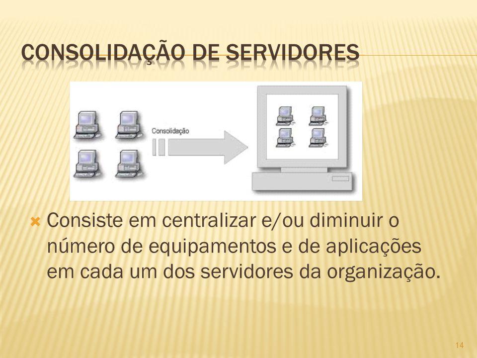 Consiste em centralizar e/ou diminuir o número de equipamentos e de aplicações em cada um dos servidores da organização.