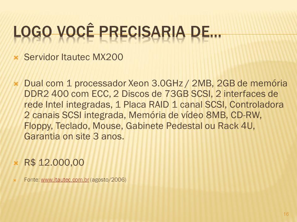 Servidor Itautec MX200 Dual com 1 processador Xeon 3.0GHz / 2MB, 2GB de memória DDR2 400 com ECC, 2 Discos de 73GB SCSI, 2 interfaces de rede Intel integradas, 1 Placa RAID 1 canal SCSI, Controladora 2 canais SCSI integrada, Memória de vídeo 8MB, CD-RW, Floppy, Teclado, Mouse, Gabinete Pedestal ou Rack 4U, Garantia on site 3 anos.