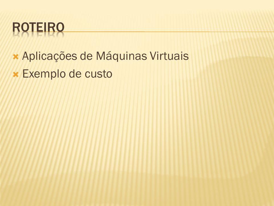 Aplicações de Máquinas Virtuais Exemplo de custo