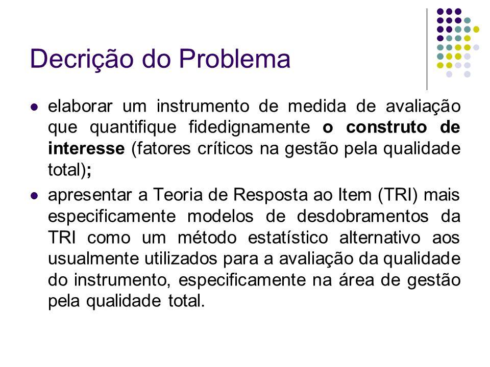 Decrição do Problema elaborar um instrumento de medida de avaliação que quantifique fidedignamente o construto de interesse (fatores críticos na gestã
