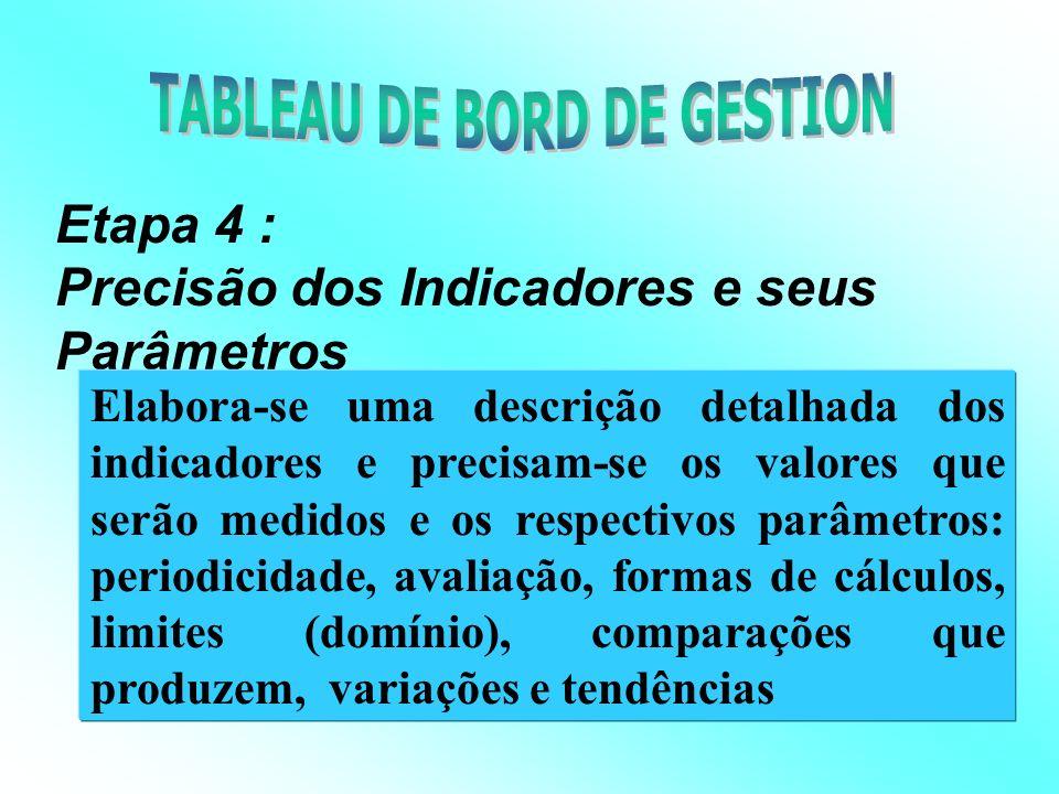 Etapa 3 : Determinação e Escolha dos Indicadores Pertinentes As necessidades de informações dos gestores são analisadas e são determinados os indicadores aceitos e necessários.