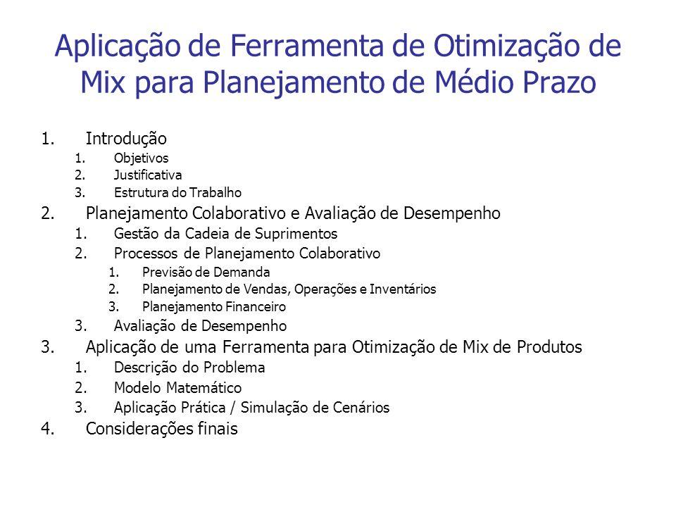 Aplicação de Ferramenta de Otimização de Mix para Planejamento de Médio Prazo 1.Introdução 1.Objetivos 2.Justificativa 3.Estrutura do Trabalho 2.Plane
