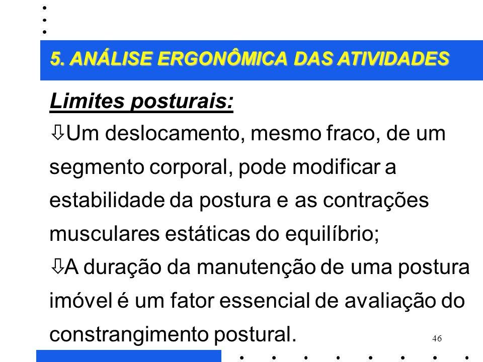 45 Ë Características das principais posturas de trabalho: ò Existe uma variedade considerável de posturas de trabalho (72 segundo método OWAS); ò Tent