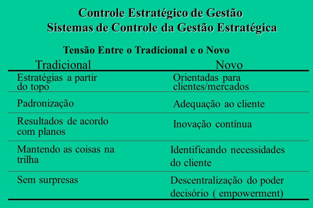 Conceito Renovado de Controle Estratégico de Gestão O controle estratégico é orientado à manutenção e à melhoria contínua da posição competitiva da em