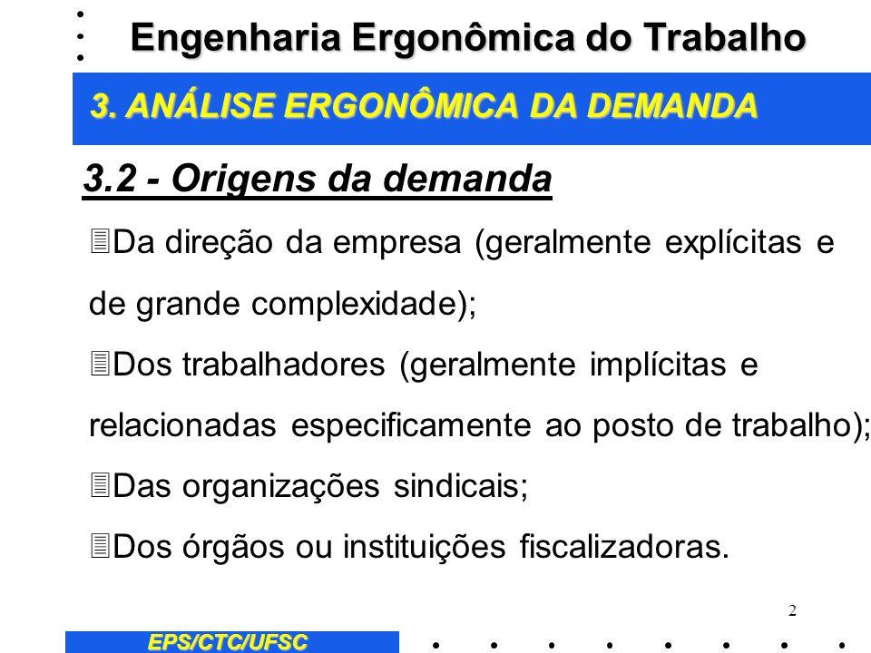 3 EPS/CTC/UFSC 3Recomendações ergonômicas para um novo sistema de produção; 3Resolução de problemas ergonômicos em sistemas de produção já implantados e/ou em funcionamento; 3Identificação de novas condicionantes, a partir de mudanças organizacionais ou implantação de novas tecnologias.