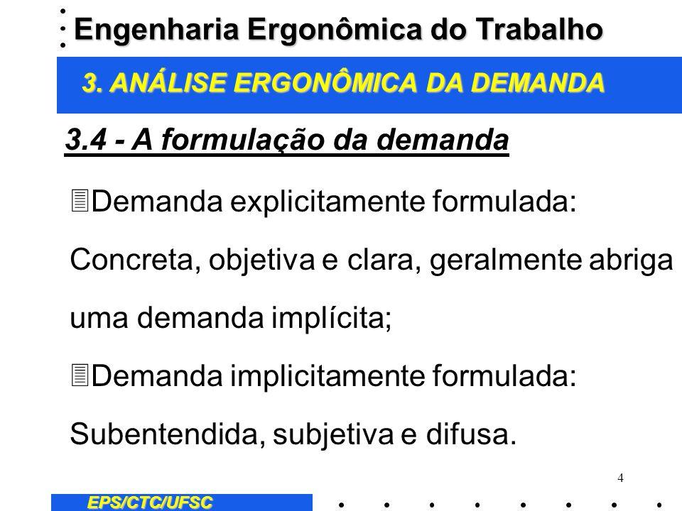 4 EPS/CTC/UFSC 3Demanda explicitamente formulada: Concreta, objetiva e clara, geralmente abriga uma demanda implícita; 3Demanda implicitamente formula