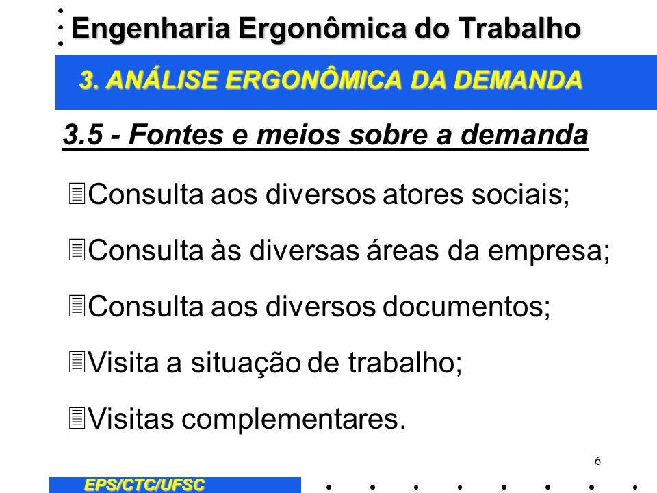 6 EPS/CTC/UFSC 3Consulta aos diversos atores sociais; 3Consulta às diversas áreas da empresa; 3Consulta aos diversos documentos; 3Visita a situação de