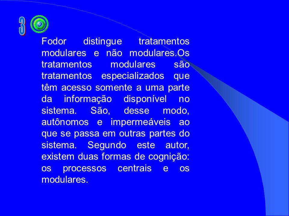 Fodor distingue tratamentos modulares e não modulares.Os tratamentos modulares são tratamentos especializados que têm acesso somente a uma parte da in