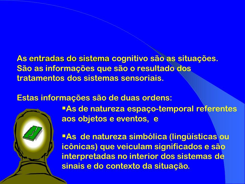 entradas do sistema As entradas do sistema cognitivo são as situações. São as informações que são o resultado dos tratamentos dos sistemas sensoriais.