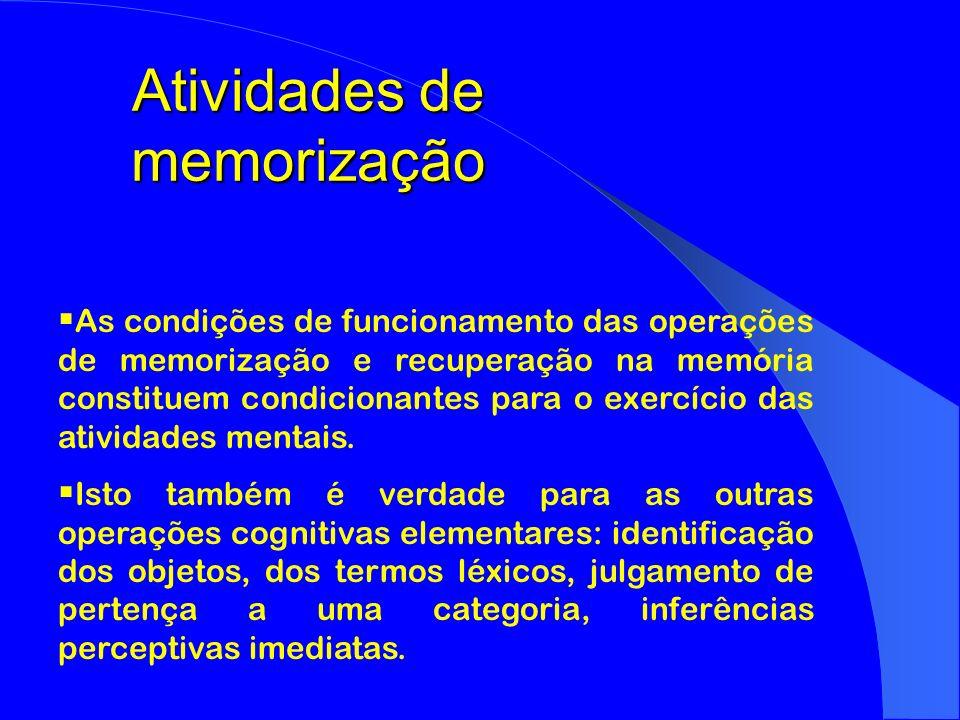 Atividades de memorização As condições de funcionamento das operações de memorização e recuperação na memória constituem condicionantes para o exercíc