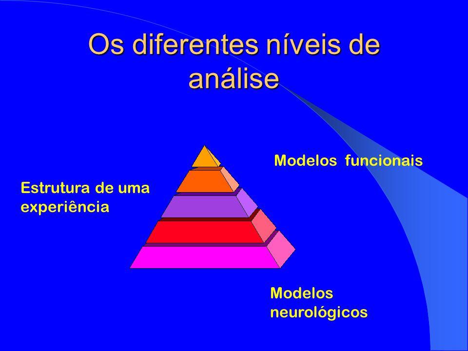 Os diferentes níveis de análise Estrutura de uma experiência Modelos neurológicos Modelos funcionais