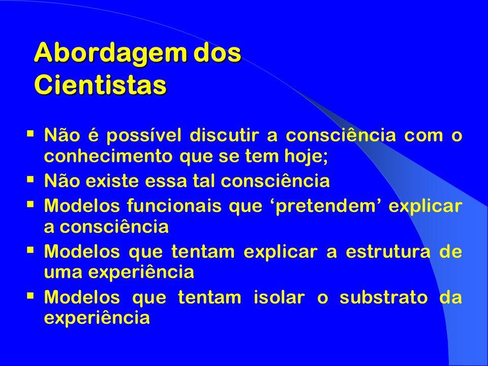 Não é possível discutir a consciência com o conhecimento que se tem hoje; Não existe essa tal consciência Modelos funcionais que pretendem explicar a