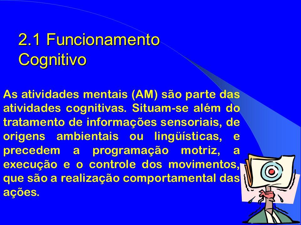 2.1 Funcionamento Cognitivo As atividades mentais (AM) são parte das atividades cognitivas. Situam-se além do tratamento de informações sensoriais, de